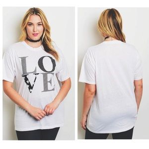 Love White Patterned Comfy Soft Short Sleeve Tee